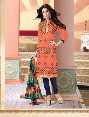 Heavy Peach Cotton Salwar Kameez @ Rs926.00