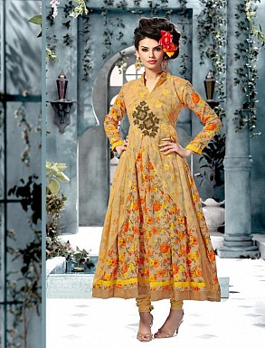 Banglori Silk And Bhagalpuri Print YELLOW Anarkali Suit @ Rs1606.00