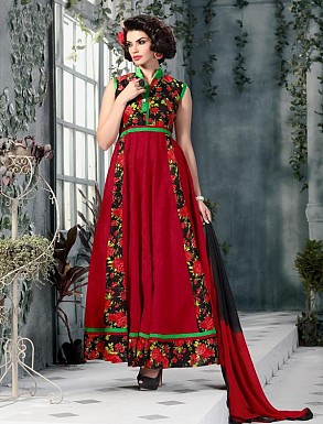 Banglori Silk And Bhagalpuri Print RED Anarkali Suit @ Rs1606.00