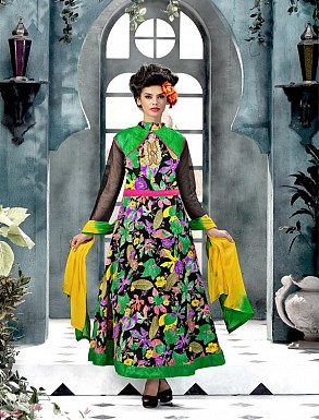Banglori Silk And Bhagalpuri Print GREEN Anarkali Suit @ Rs1606.00