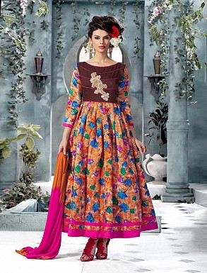 Banglori Silk And Bhagalpuri Print PINK Anarkali Suit @ Rs1606.00