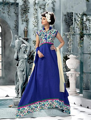 Banglori Silk And Bhagalpuri Print Blue Anarkali Suit @ Rs1606.00