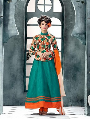Banglori Silk And Bhagalpuri Print Aqua Anarkali Suit @ Rs1606.00