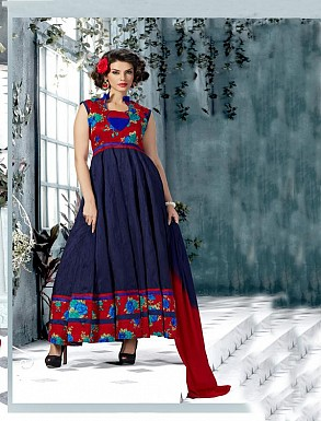Banglori Silk And Bhagalpuri Print Navy Blue Anarkali Suit @ Rs1606.00