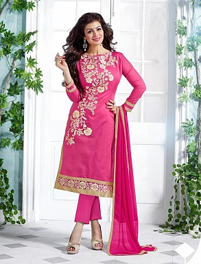 Heavy Pink Chanderi Cotton Salwar Kameez @ Rs1050.00
