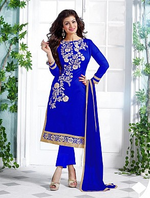 Heavy Blue Chanderi Cotton Salwar Kameez @ Rs1050.00