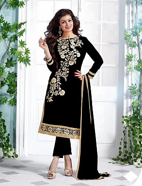 Heavy Black Chanderi Cotton Salwar Kameez @ Rs1050.00