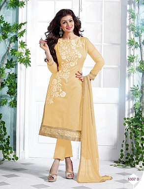 Heavy Cream Chanderi Cotton Salwar Kameez @ Rs1050.00
