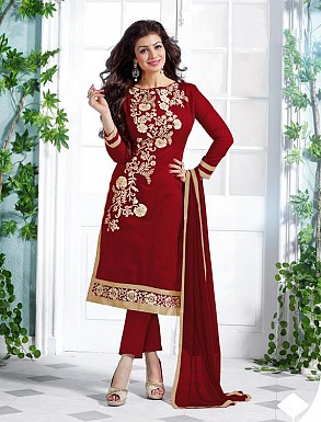 Heavy Red Chanderi Cotton Salwar Kameez @ Rs1050.00