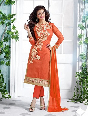 Heavy Orange Chanderi Cotton Salwar Kameez @ Rs1050.00