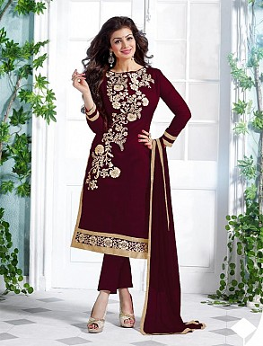 Heavy Maroon Chanderi Cotton Salwar Kameez @ Rs1050.00