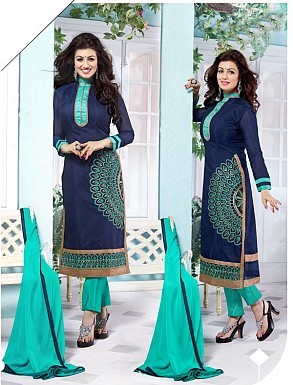 Heavy Navy Blue Chanderi Cotton Salwar Kameez @ Rs1050.00
