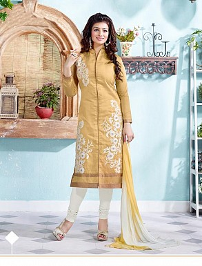 Heavy Beige Chanderi Cotton Salwar Kameez @ Rs1050.00