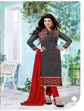Heavy Grey Chanderi Cotton Salwar Kameez @ Rs1050.00