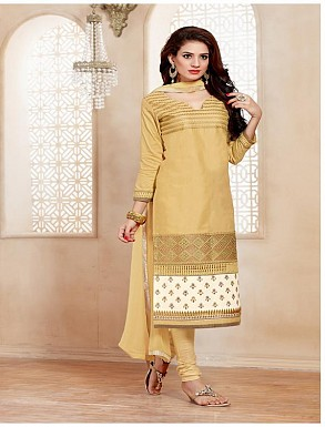 Heavy Beige Glace Cotton Salwar Kameez @ Rs1421.00