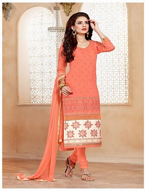 Heavy Peach Glace Cotton Salwar Kameez @ Rs1421.00
