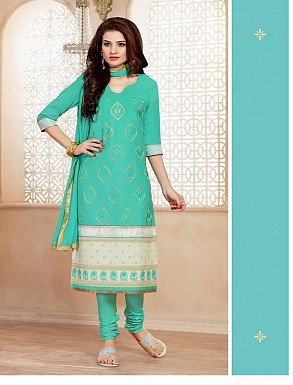 Heavy Aqua Glace Cotton Salwar Kameez @ Rs1421.00