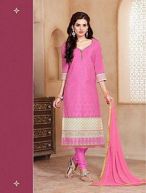 Heavy Pink Glace Cotton Salwar Kameez @ Rs1421.00