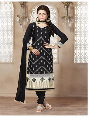 Heavy Black Glace Cotton Salwar Kameez @ Rs1421.00