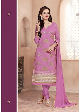 Heavy Purple Glace Cotton Salwar Kameez @ Rs1421.00