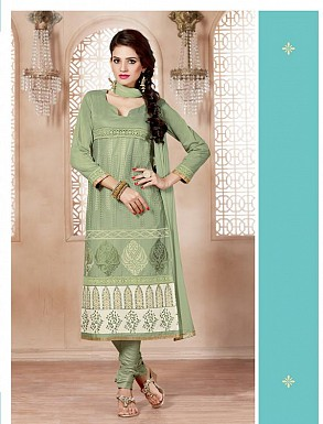 Heavy Green Glace Cotton Salwar Kameez @ Rs1421.00