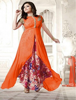 New Attractive Orange Anarkali Suit @ Rs1791.00