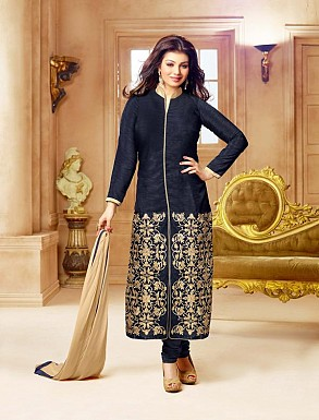 DESIGNER NAVY BLUE STRAIGHT SUIT @ Rs1112.00