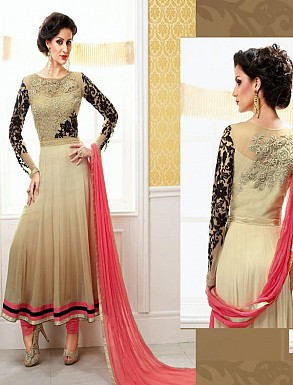 New Attractive Beige And Peach Anarkali Suit @ Rs1297.00