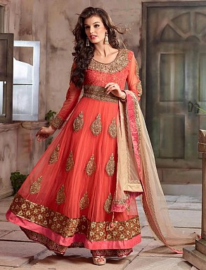 New Attractive Peach Anarkali Suit @ Rs4016.00