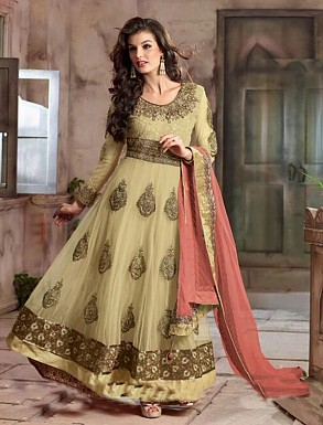 New Attractive Cream Anarkali Suit @ Rs4016.00