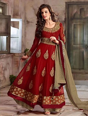 New Attractive Maroon Anarkali Suit @ Rs4016.00