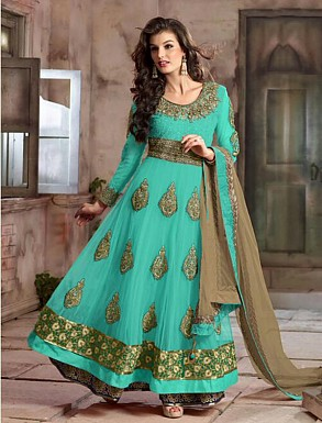 New Attractive Aqua Anarkali Suit @ Rs4016.00