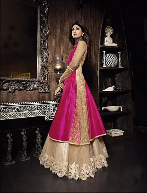 New Attractive Beige And Pink Anarkali Suit @ Rs3027.00