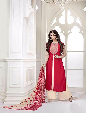 DESIGNER RED STRAIGHT SUIT @ Rs2100.00