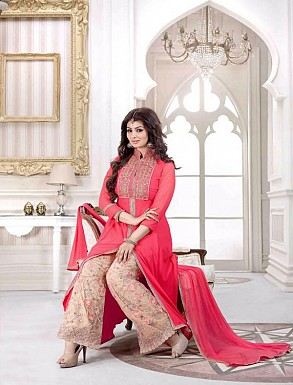 PEACH GEORGETTE STRAIGHT SUIT @ Rs2100.00
