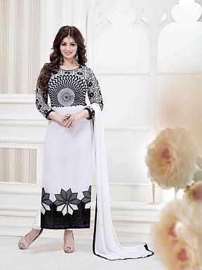 WHITE GEORGETTE STRAIGHT SUIT @ Rs1359.00