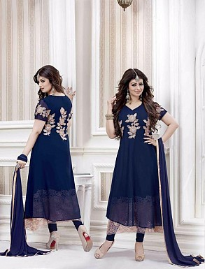 NAVY BLUE GEORGETTE STRAIGHT SUIT @ Rs2100.00