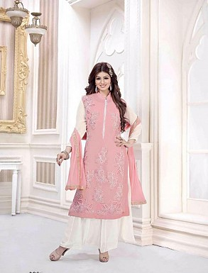 LIGHT PINK GEORGETTE STRAIGHT SUIT @ Rs2100.00