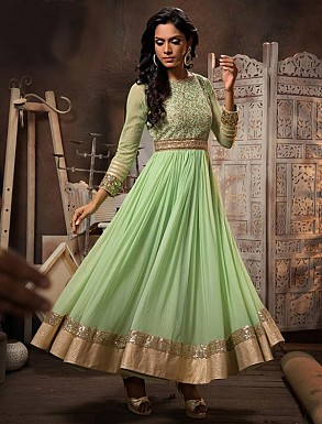New Attractive Parrot Anarkali Suit @ Rs3027.00