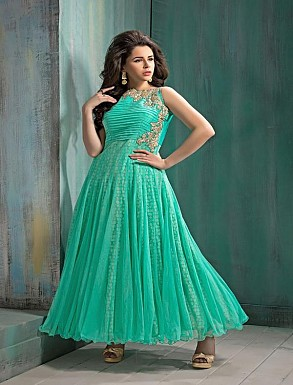 New Attractive Aqua Anarkali Suit @ Rs2595.00