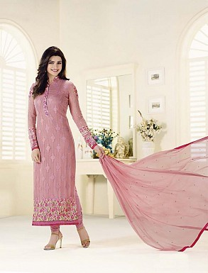 PINK GEORGETTE STRAIGHT SUIT @ Rs2100.00