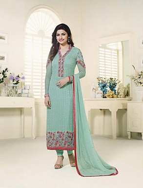 SKY GEORGETTE STRAIGHT SUIT @ Rs2100.00