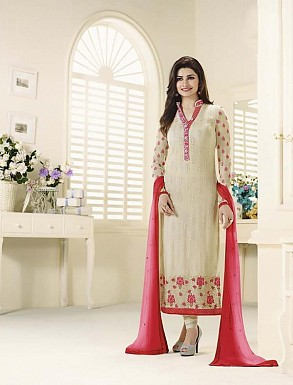OFF WHITE GEORGETTE STRAIGHT SUIT @ Rs2100.00
