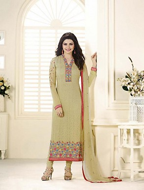 CREAM GEORGETTE STRAIGHT SUIT @ Rs2100.00