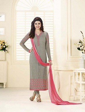 GREY GEORGETTE STRAIGHT SUIT @ Rs2100.00
