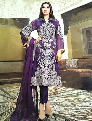 PURPLE GEORGETTE STRAIGHT SUIT @ Rs2100.00