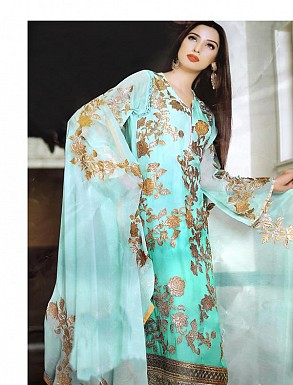AQUA GEORGETTE STRAIGHT SUIT @ Rs2100.00
