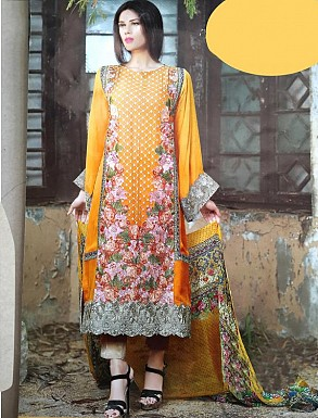 ORANGE GEORGETTE STRAIGHT SUIT @ Rs2100.00