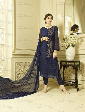 NAVY BLUE CHIFFON STRAIGHT SUIT @ Rs1606.00