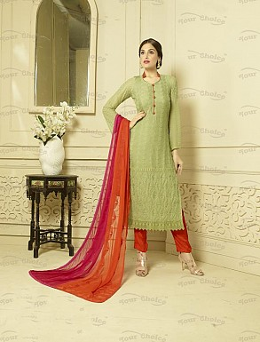 OLIVE GREEN CHIFFON STRAIGHT SUIT @ Rs1606.00